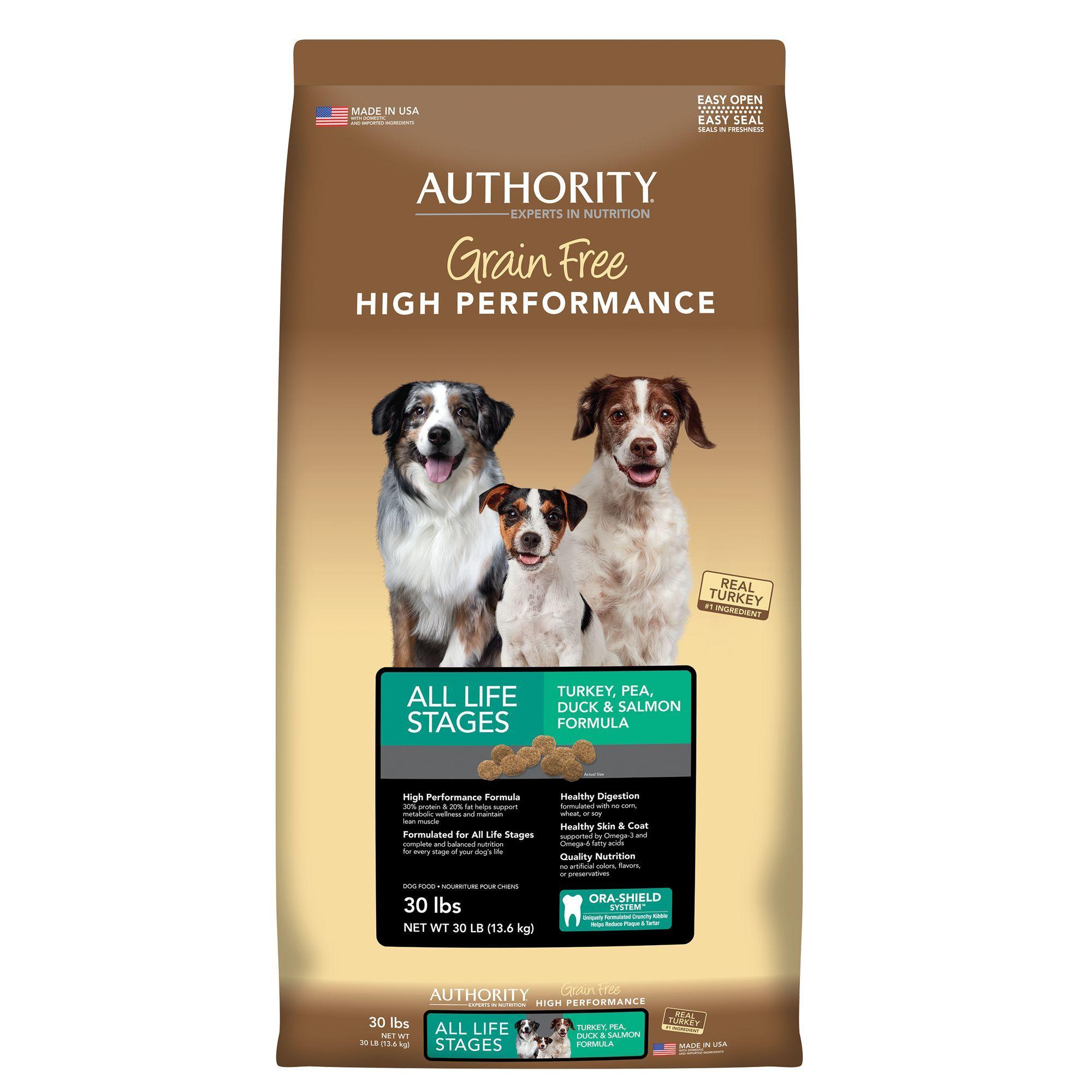 Authority Grain Free High Performance Dog Food Turkey Pea Duck