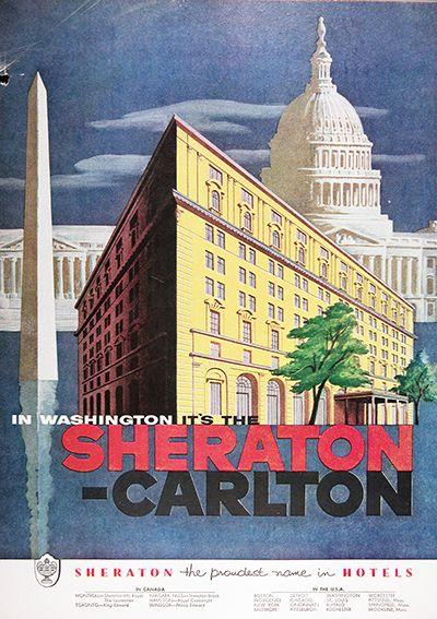 Mi Sheraton Hotel Ad VINTAGE WASHINGTON TRAVEL Ad Retro U.S.A Travel Poster