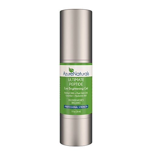 CUCUMBER infused ULTIMATE PEPTIDE EYE BRIGHTENING Gel with Matrixyl 3000 + Plant Stem Cells + Hyaluronic Acid, Our Best Eye Cream Will Help Eliminate Dark Circles, Reduce Puffiness, Inflammation, and Under Eye Bags and Other Signs of Premature Aging, Huge 1 OZ Size, Try Risk Free Today, One Year Unlimited Money Back Guarantee! Azure Naturals http://www.amazon.com/dp/B00PIDDE1G/ref=cm_sw_r_pi_dp_aS6Kub1V5G0ZR