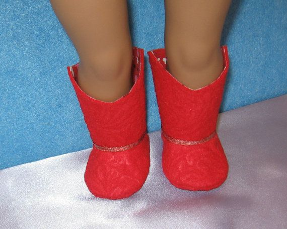 Red Cowgirl Boots for 18 inch American Girl Size Doll with Shoebox