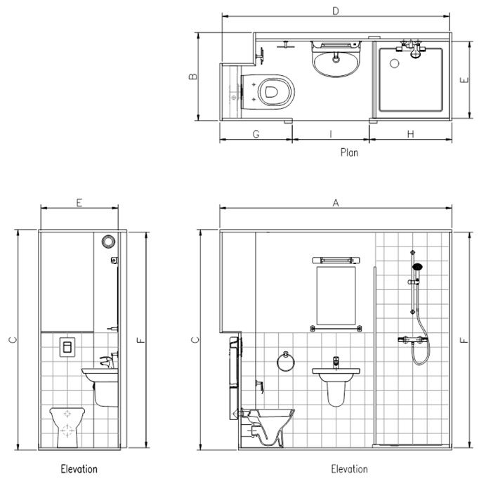 Lauren Bathroom Shower Pods Interior Design Drawings