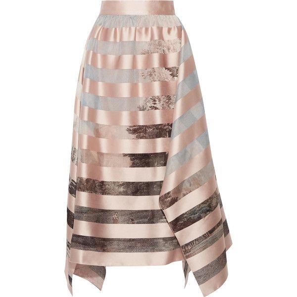 7738bb9f4877 Fendi Asymmetric striped satin and printed organza midi skirt (46 980 UAH)  ❤ liked on Polyvore featuring skirts, stripe midi skirt, brown striped skirt,  ...