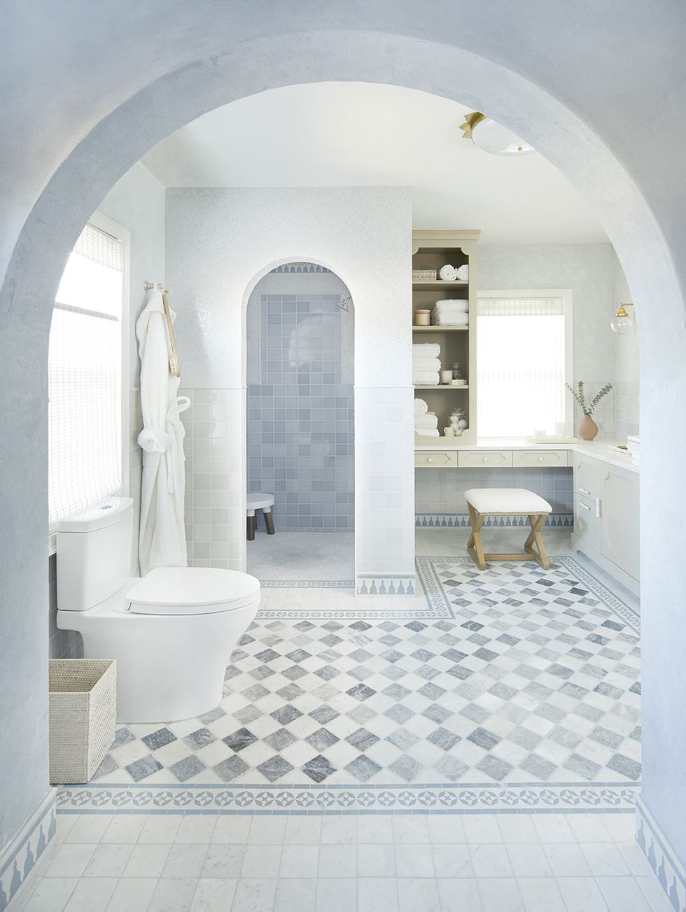 See How This Drab Spare Room Became A Moroccan Inspired Bathroom In 2020 Moroccan Inspired Bathroom Design Your Own Bathroom Spare Room