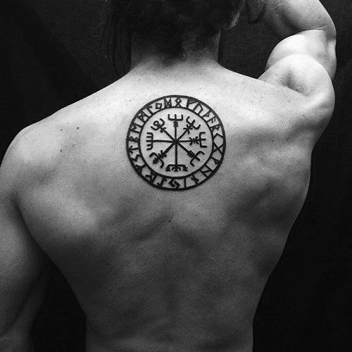 Manly Cool Viking Compass Black Ink Guys Upper Back Tattoo