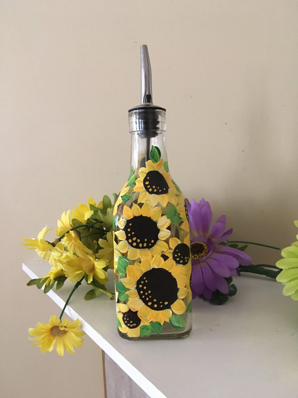 Sunflower Oil Bottle, Medium Size, Soap Dispenser, Sunflowers , Autumn dish ware, Fall Decor, Hand Painted Bottle, Thanksgiving Serving Dish #dishware