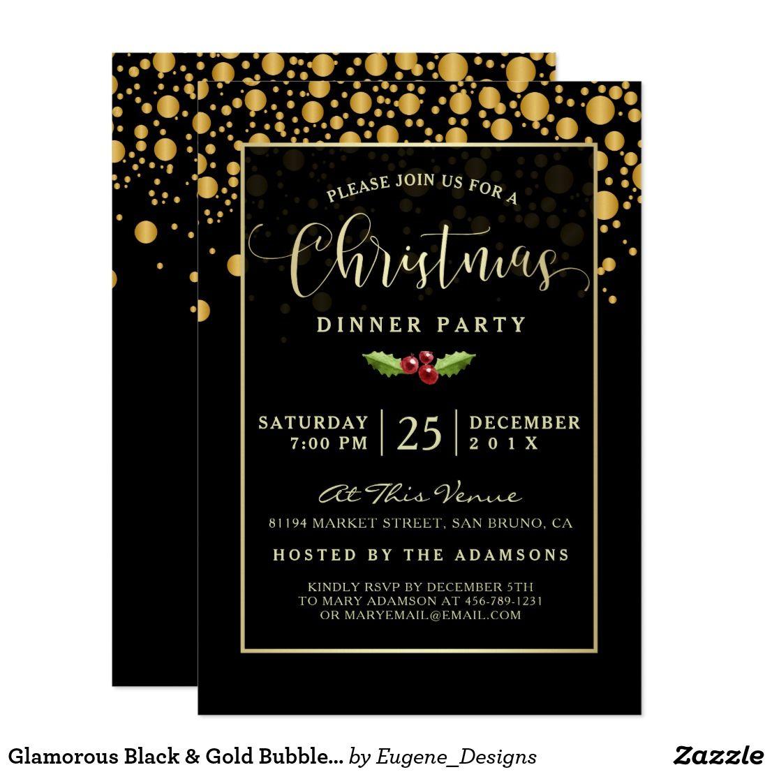 Glamorous Black & Gold Bubbles Christmas Dinner Invitation