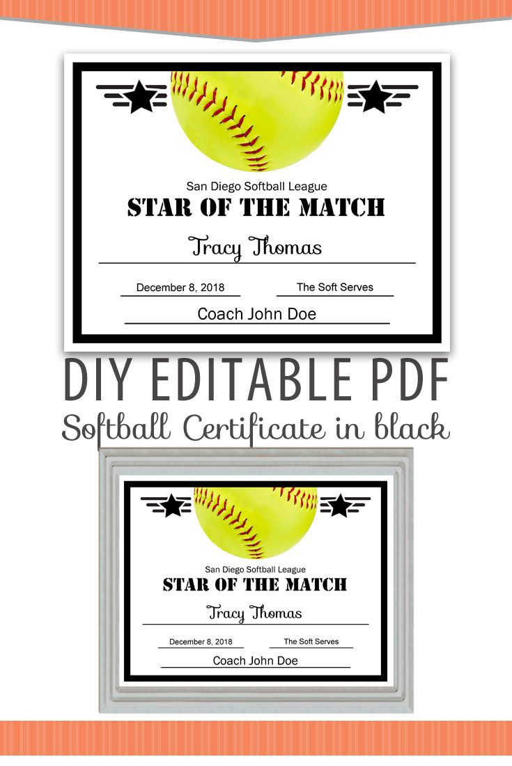 Editable pdf sports team softball certificate diy award template in editable pdf sports team softball certificate diy award template in black letter size instant download yadclub Gallery