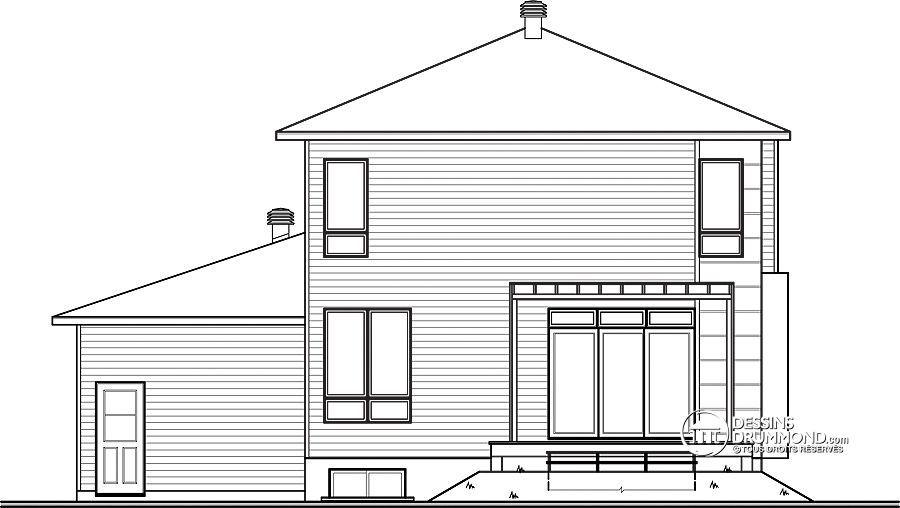 Détail du plan de Maison unifamiliale W3713-V1 Maison Pinterest