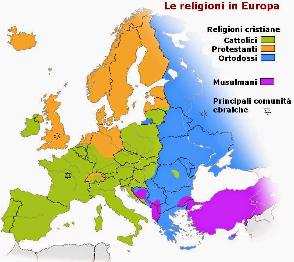 Cartina Geografica Delle Religioni Nel Mondo.Imparare Con La Geografia Lingue Religioni E Nazioni In Europa Mappa Religione Geografia