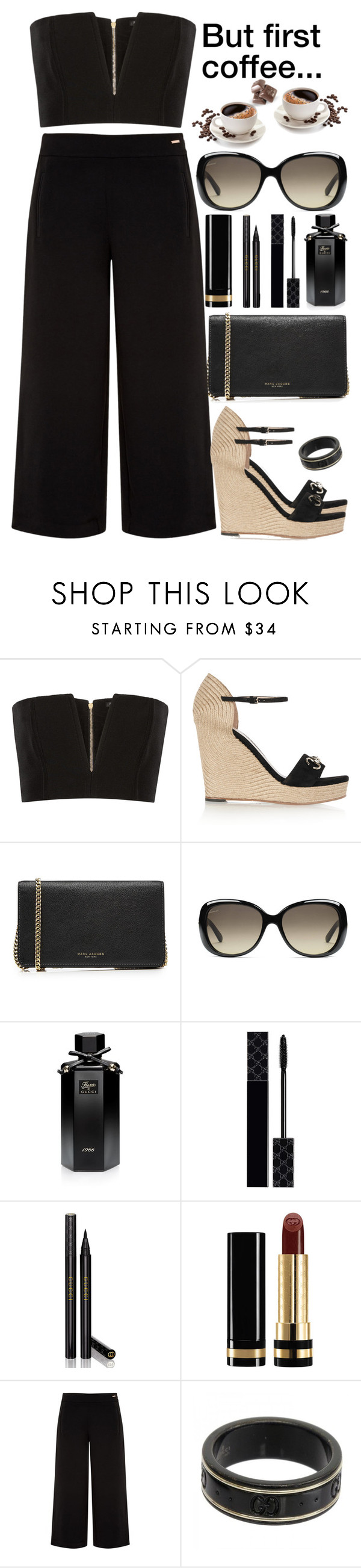 """But first coffee..."" by rasa-j ❤ liked on Polyvore featuring Balmain, Gucci, Marc Jacobs and Ted Baker"