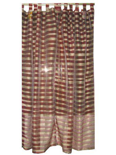 2 Maroon Gold Sheer Organza Sari India Curtains Panels Drapes 84
