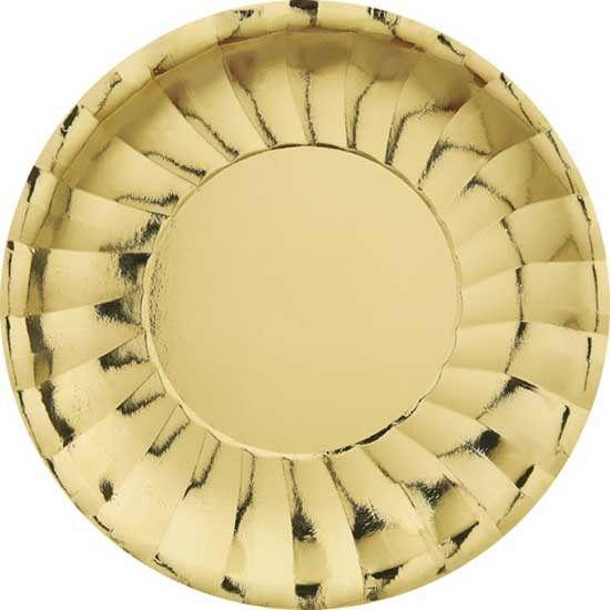 Guld Tema 23 cm. Tallerken - Single. Fin tallerken til julefrokost, guldbryllup, gallafest og nytårsaften!