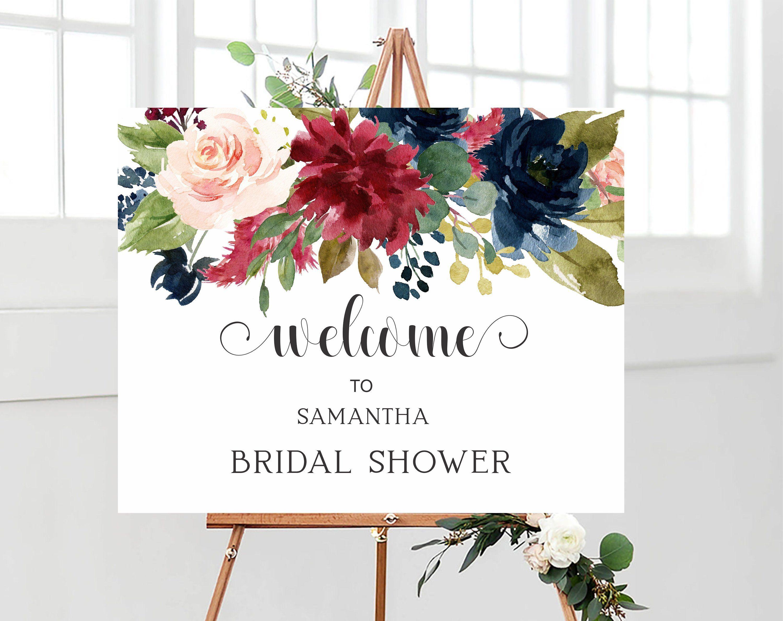 burgundy navy welcome sign bridal shower decorations printable