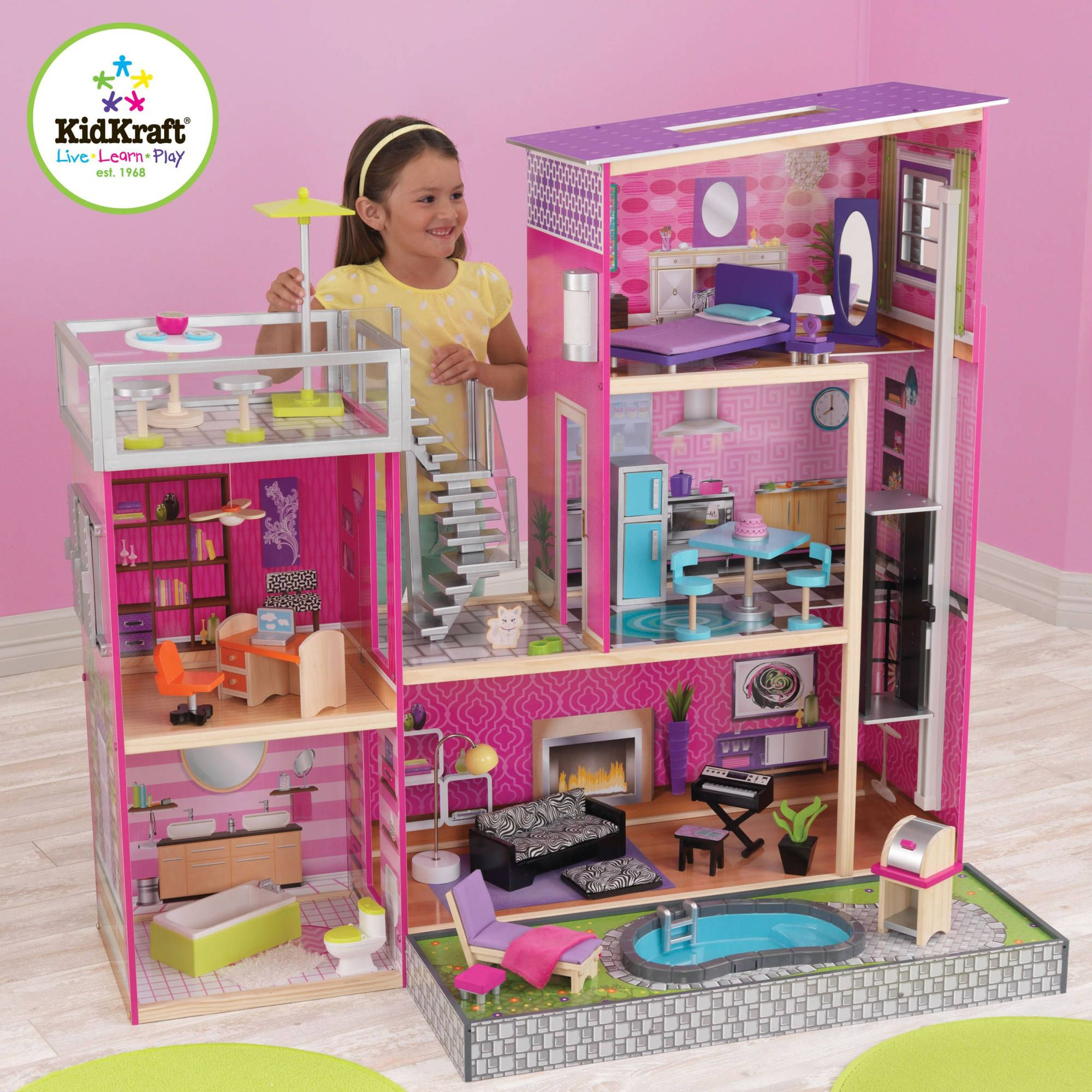 Free Shipping Buy Kidkraft Uptown Wooden Dollhouse With 35 Pieces Of Furniture At Walmart Com Kids Doll House Barbie Doll House Wooden Dollhouse