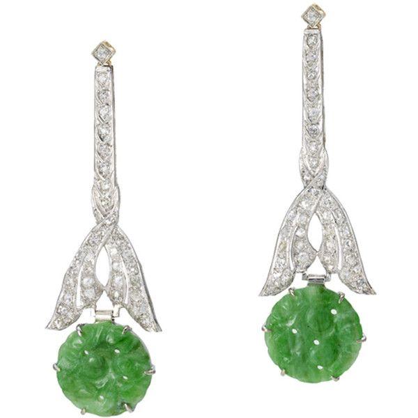 1STDIBS.COM Jewelry & Watches - Art Deco Diamond and Jadeite Drop... ❤ liked on Polyvore