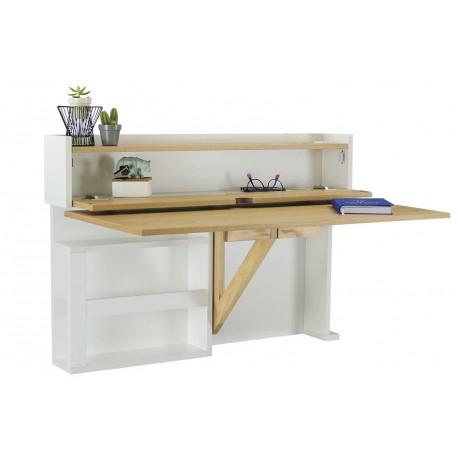 bureau mural rabattable bois et blanc
