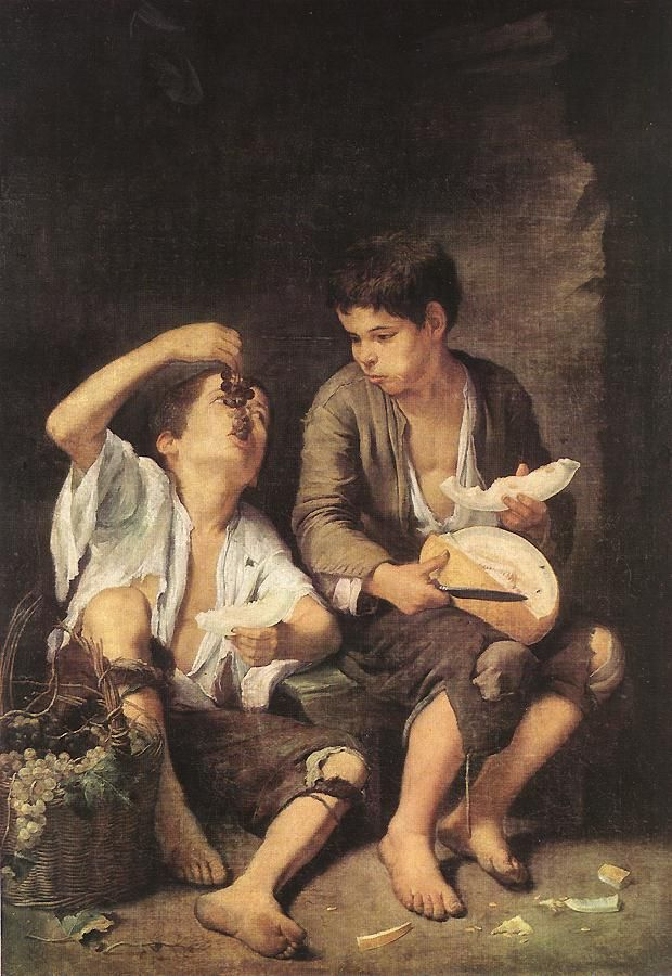 Risultati immagini per BOYS EATING FRUIT, (GRAPE AND MELON EATERS), BY BARTOLOME MURILLO