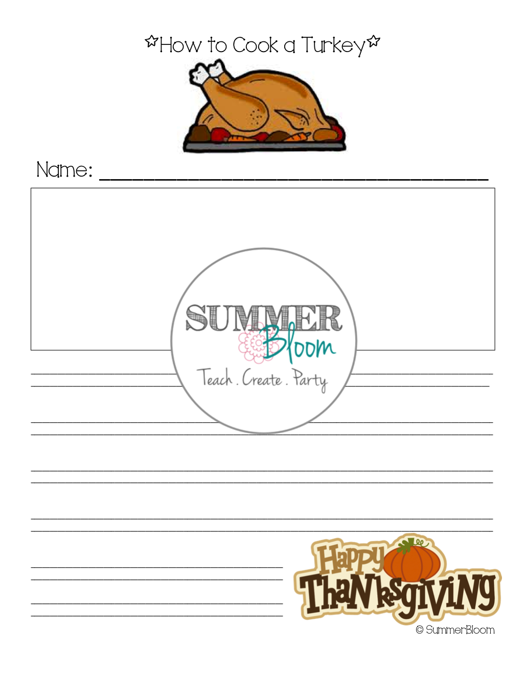 How to Cook a Turkey! ~ Fun Writing activity from SummerBloom