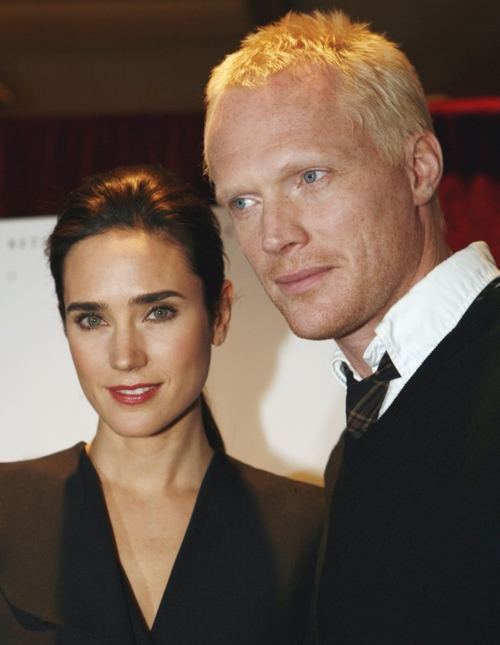 "Jennifer Connelly and Paul Bettany at a press conference for ""Creation"" in 2010."