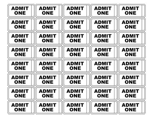 Free Printable Admit One Ticket Templates – Print Tickets Free Template