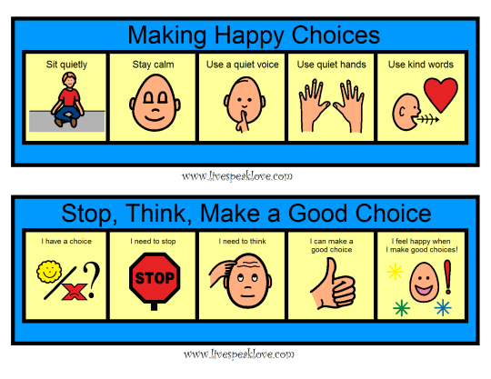 positive guidelines to help manage behaviour with symbols