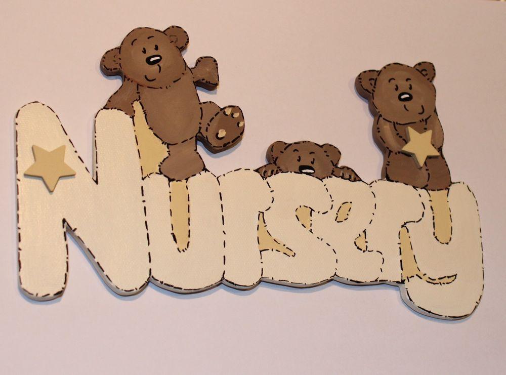 Personalised Handmade Teddy Bear Baby Boys Name Plaque Bedroom Door Sign