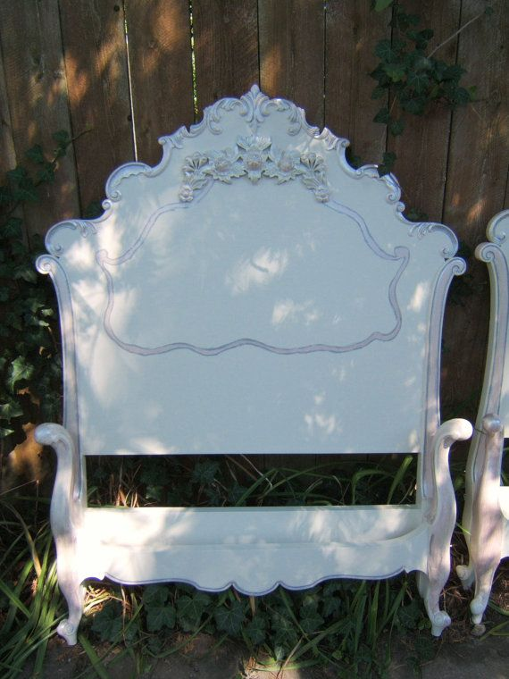 Shabby Rose Antique French Twin Beds Headboard Footboard Original