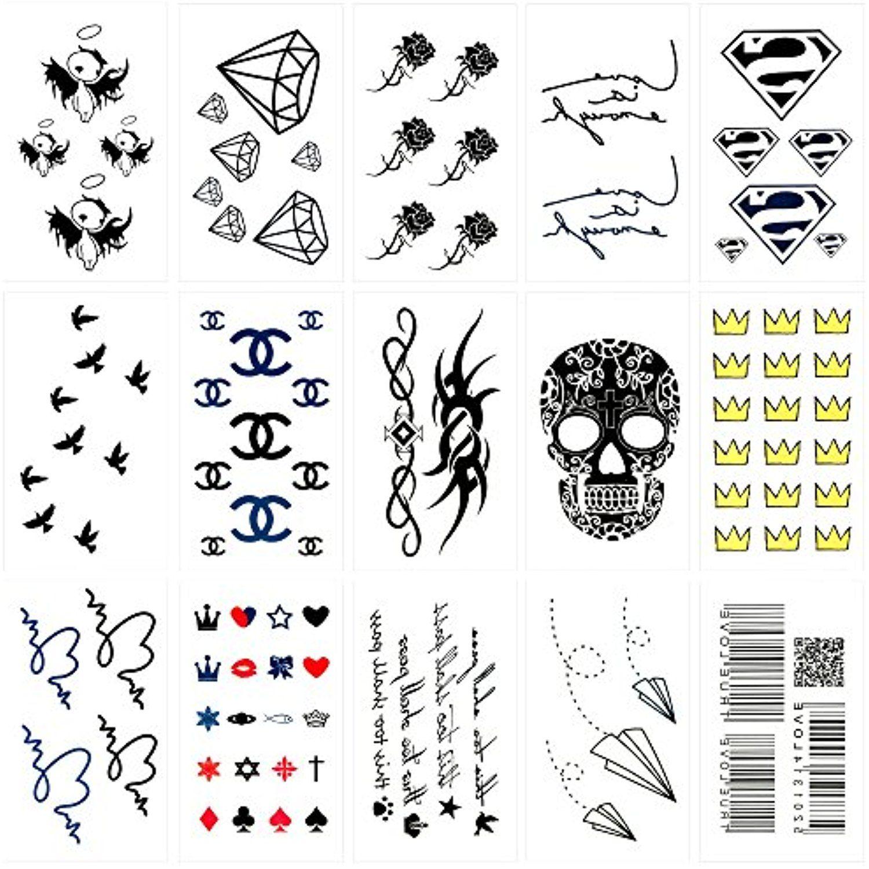 Oottati 15 Sheets Small Cute Temporary Tattoos Skull Crown Paper Plane Bar Code Heart Bird Rose Flower Logo Diamo Flower Logo Temporary Tattoos Diamond Tattoos