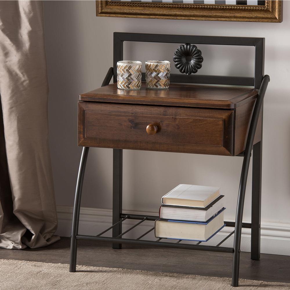 Jevenci 1 drawer antique bronze and medium brown wood nightstand antique bronze finish metal and medium brown wood
