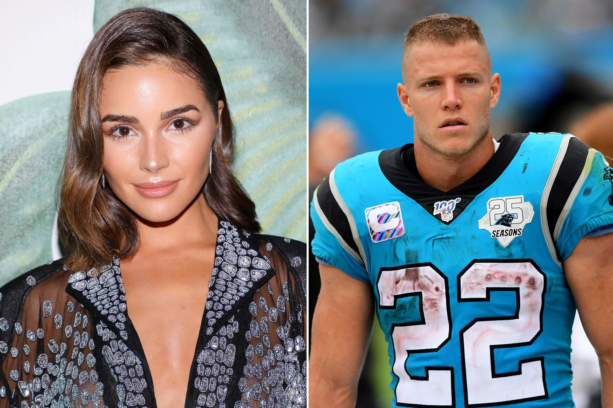 Olivia Culpo S Boyfriend Christian Mccaffrey Flirts With Her After Sharing Sultry Shot And It S Super Cute In 2020 Christian Mccaffrey Olivia Culpo Super Cute