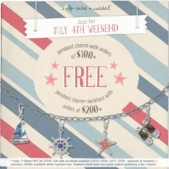 Just for July 4th weekend - a free pendant charm with purchase! Choose from the sailboat, ship's wheel, starfish or binoculars. Find your adventure...  www.stylewithjennifer.com
