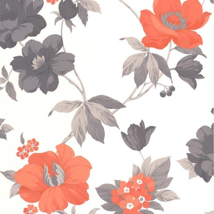 Eden orange floral wallpaper orange flower wall - Floral wallpaper home depot ...