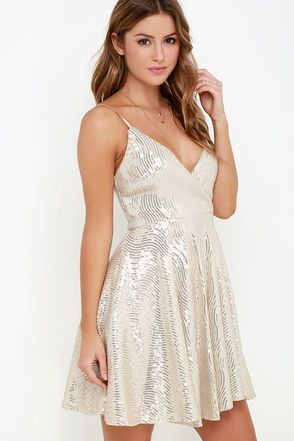 Wish Upon A Starlet Gold Sequin Dress At Lulus Com