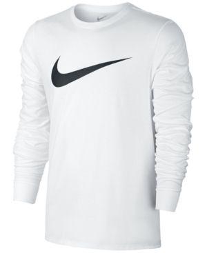 Nike Mens Long Sleeve Swoosh T Shirt White 2XL | Mens