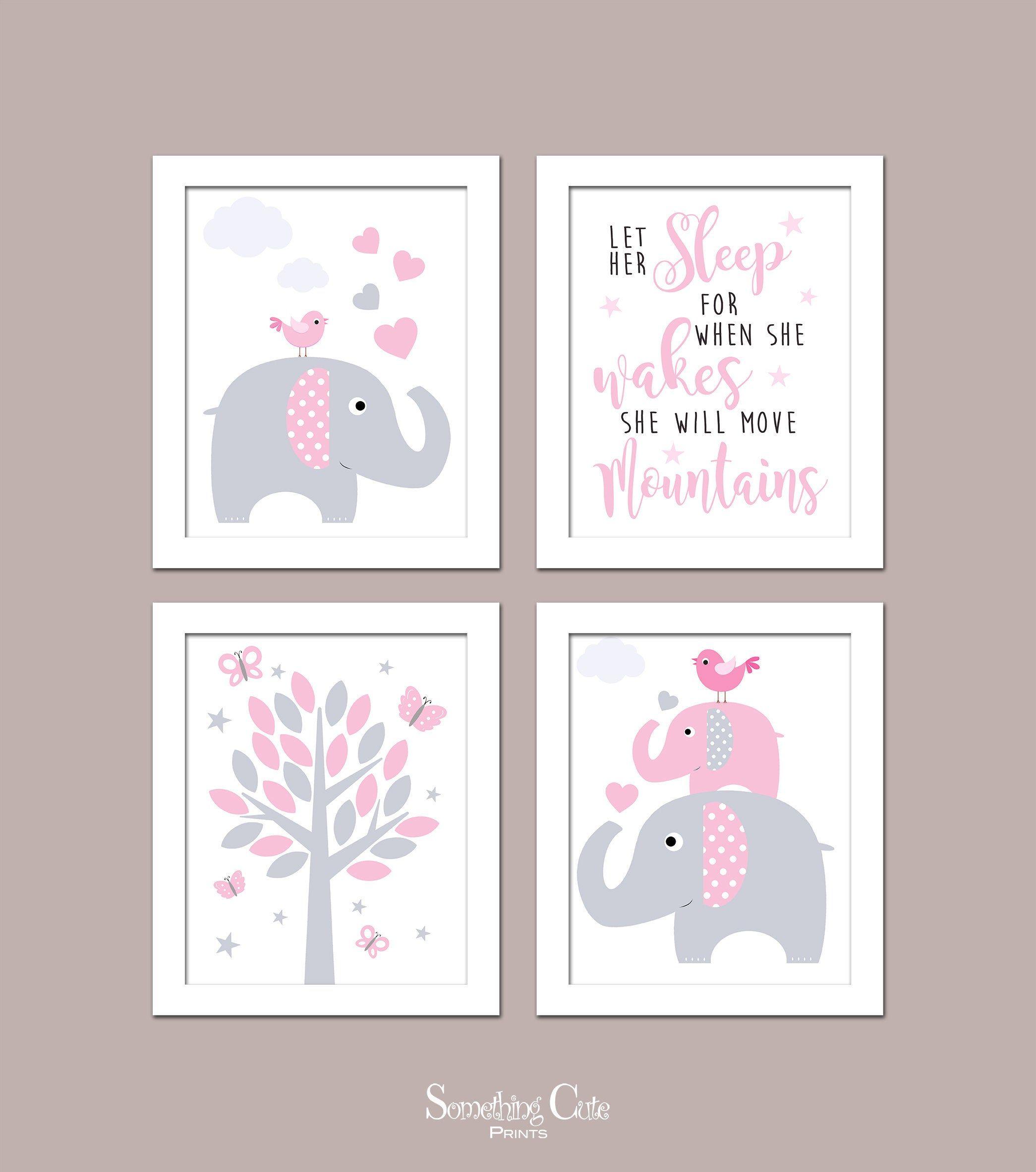 Girl Nursery Wall Art Girl Bedroom Prints Nursery Wall Decor Elephant Nursery Art Elephant Wall Decor Girl Wall