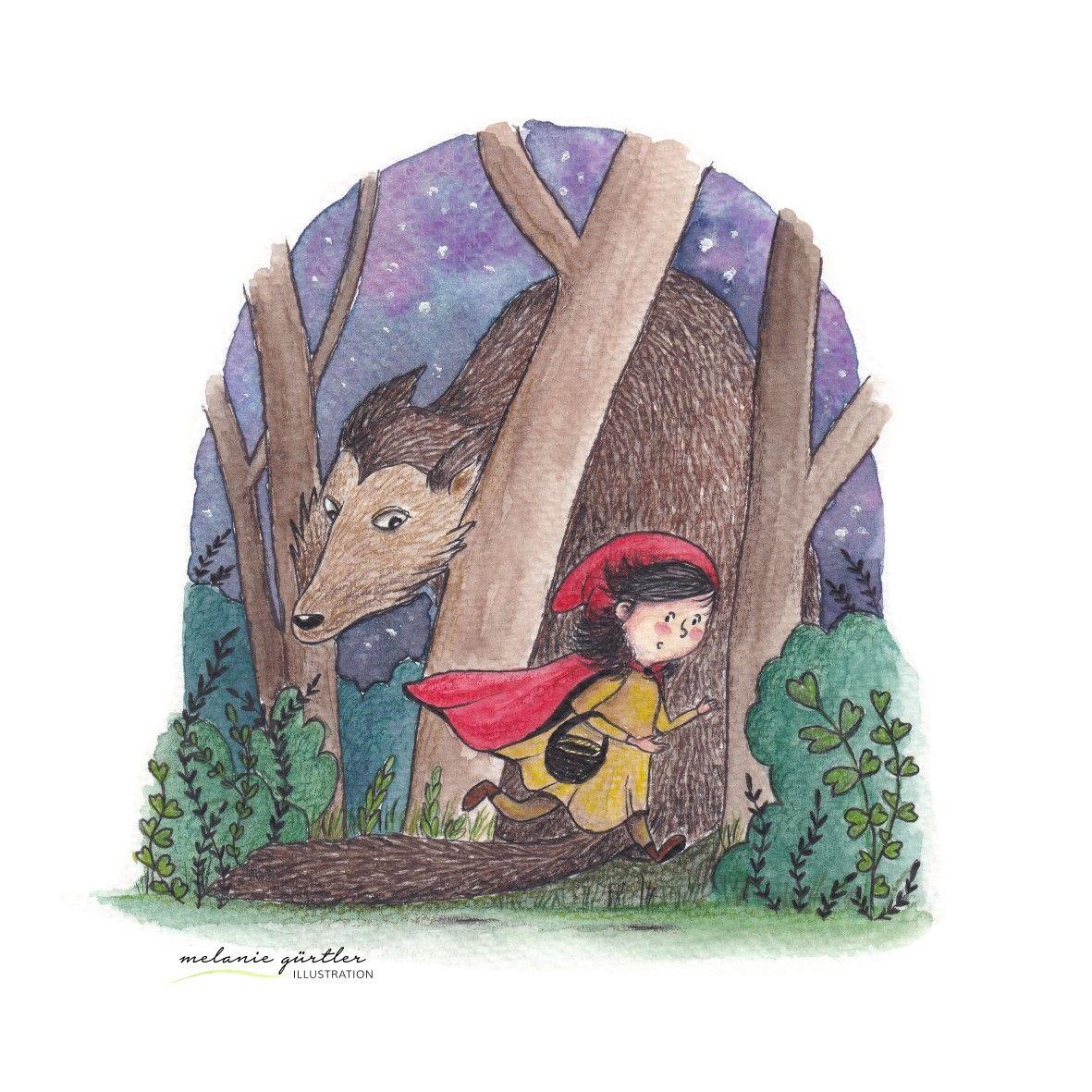 Rotkappchen Und Wolf Kinderbuch Illustration Aquarell Und