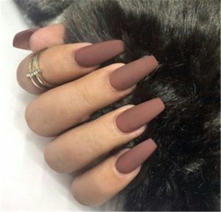 32 Stunning And Trendy Matte Coffin Nails Design In 2020 With Images Matte Nails Design Coffin Nails Designs Fall Acrylic Nails