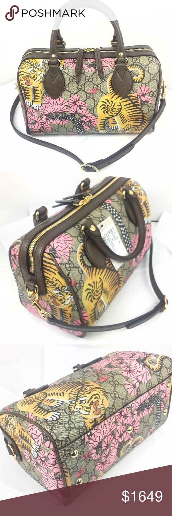 178ab0e3526bc Gucci Bengal Tiger GG Supreme Boston Bag  449661 - Bengal Tiger Print on GG  Supreme