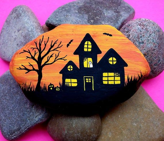 Haunted House Painted Rock Tutorial