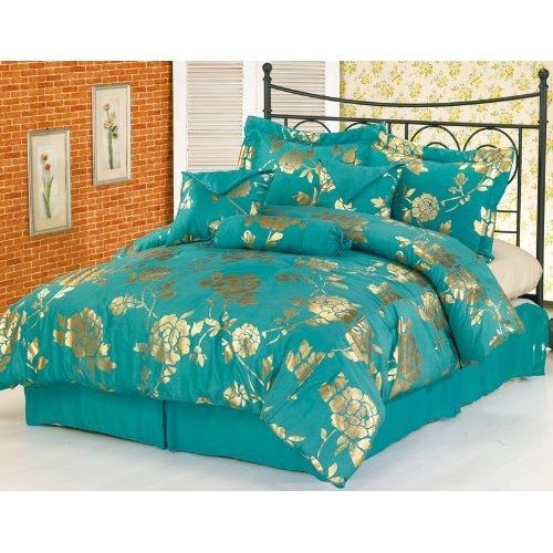 teal and metallic gold bedspread  teal bedding creative