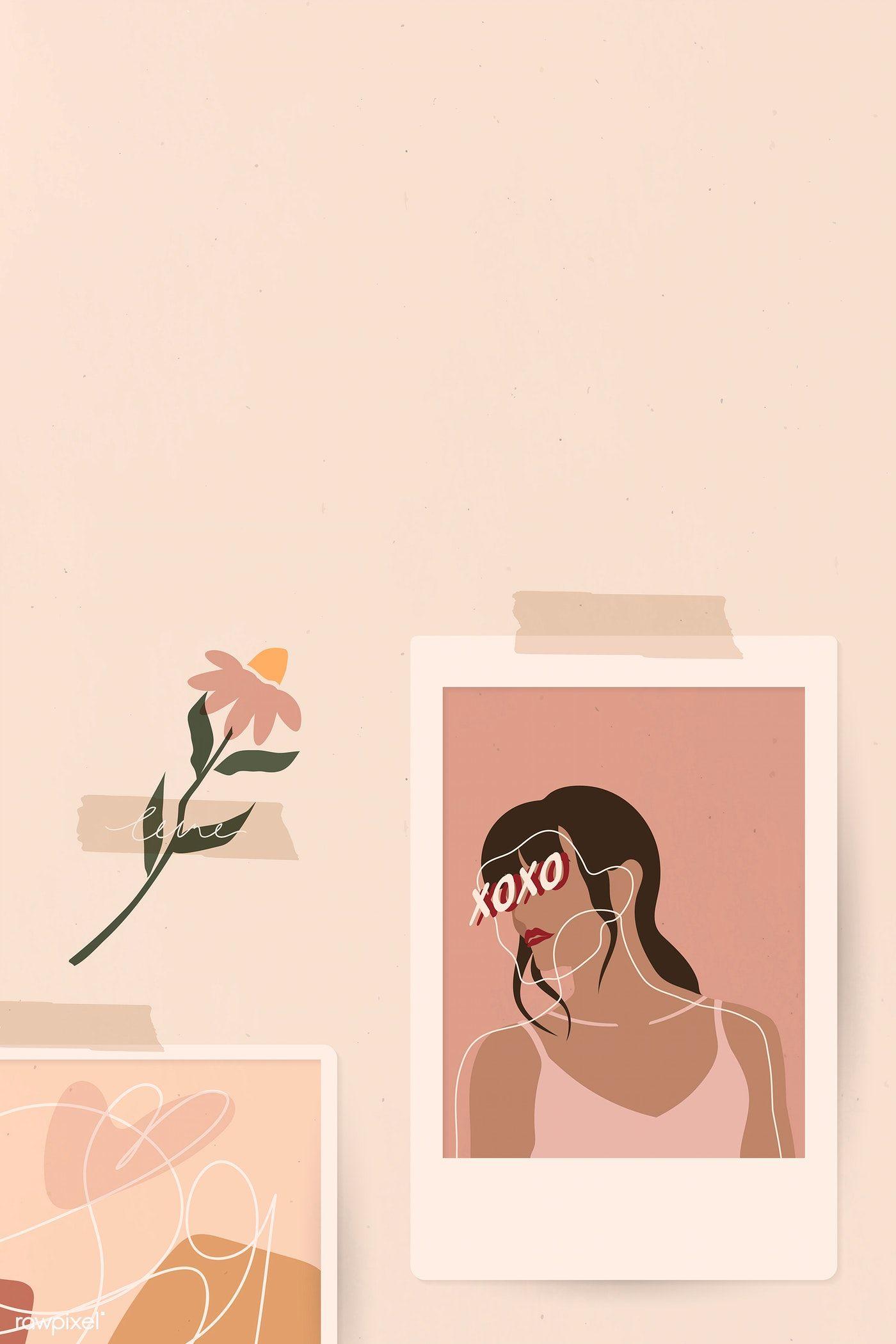 Download Premium Vector Of Woman In An Instant Picture Frame Social Ilustrasi Ilustrasi Poster Seni Abstrak