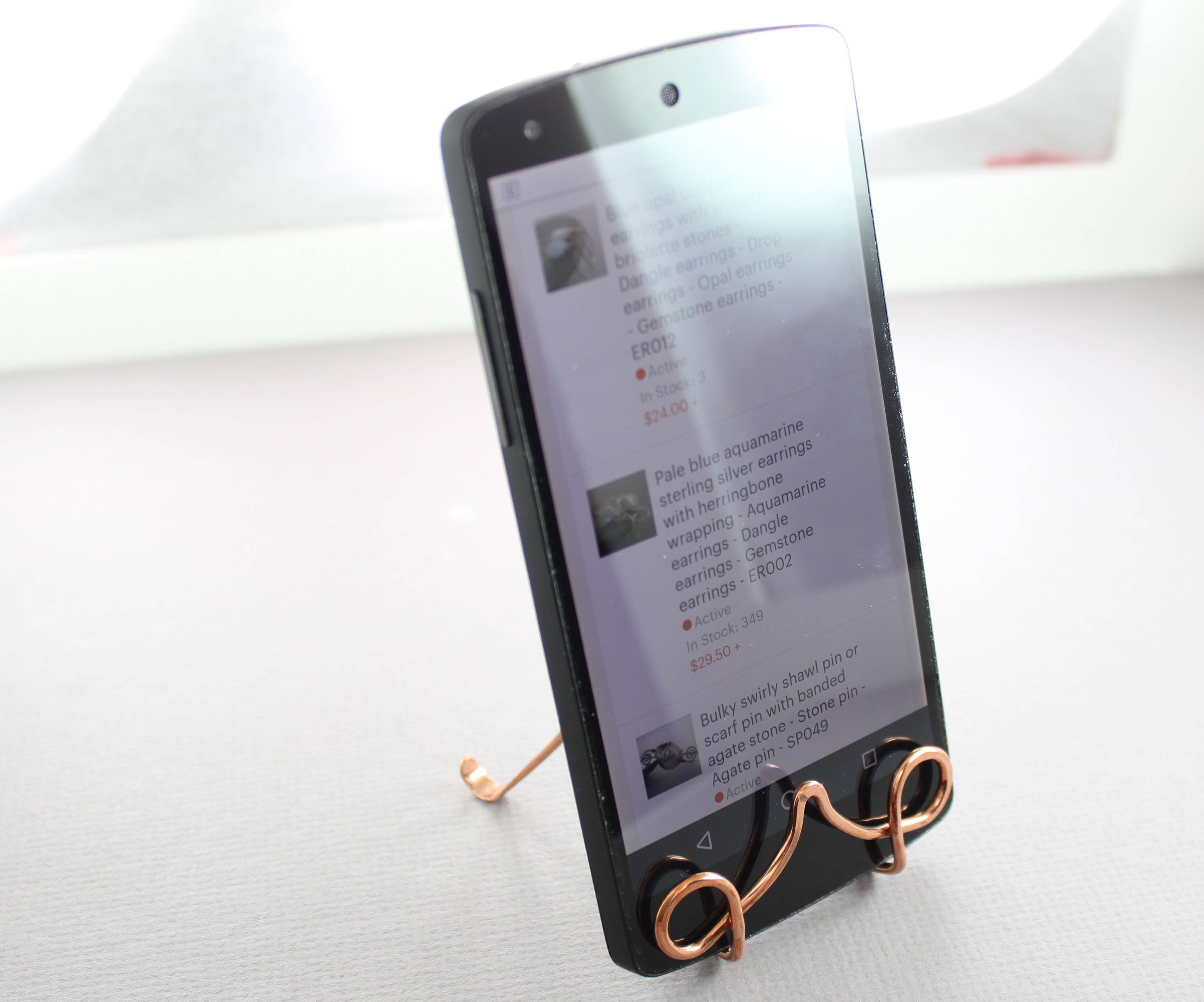 Wire copper business card or phone holder - Business card stand ...