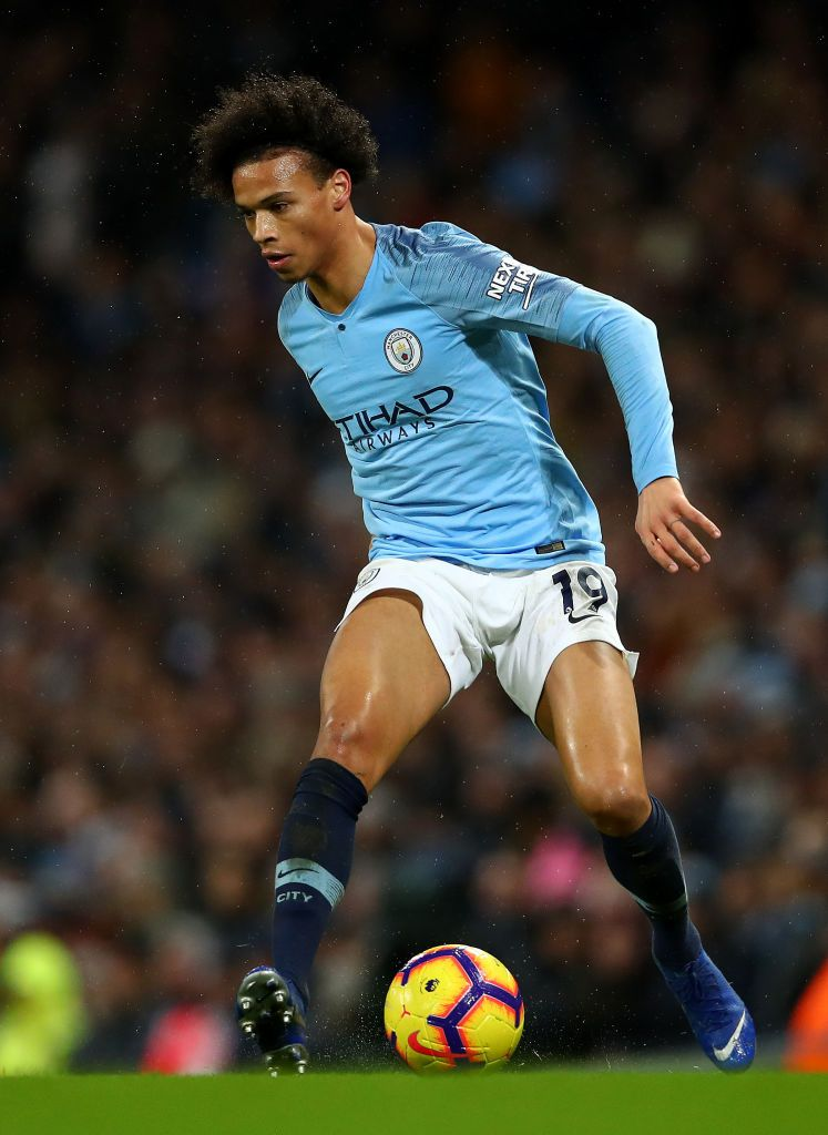 Leroy Sane Of Manchester City In Action During The Premier League Manchester City Leroy Sane Soccer Guys