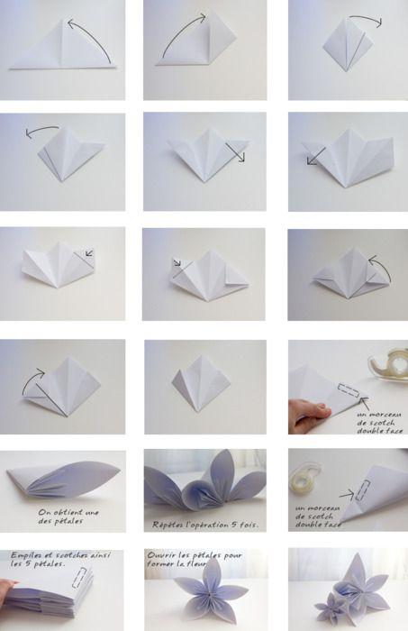 Diy Origami Flower Tuto Fleur Origami Origami Pinterest