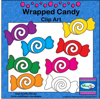 Wrapped Candy Clip Art ($)   Clip art, Doodle art, Math facts (350 x 346 Pixel)