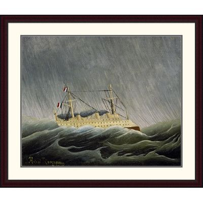 Global Gallery 'The Ship in the Storm' by Henri Rousseau Framed Painting Print Size: