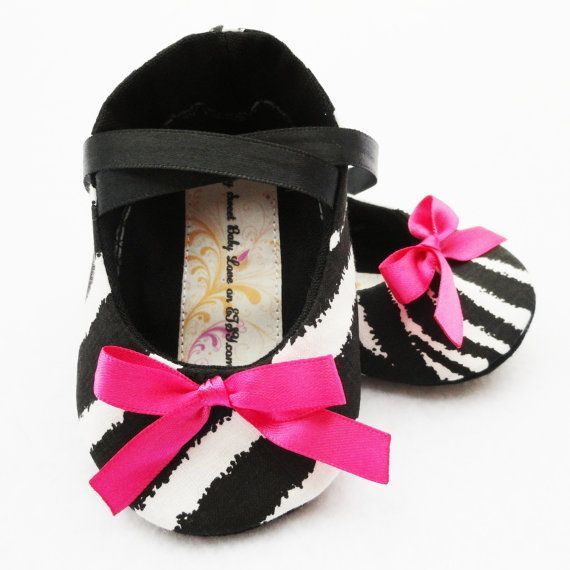 ZEBRA with Hot Pink Baby Girl Shoes FREE by mysweetbabylove, $26.00