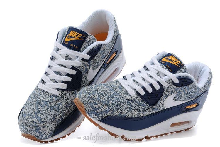 4f31fc3212b5 Womens Nike Air Max 90 Navy White decorative pattern