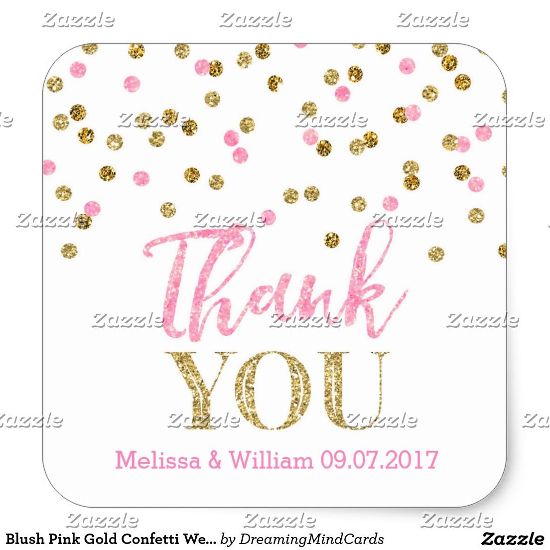 Blush Pink Gold Confetti Wedding Favor Tags | Wedding, Pink and Note