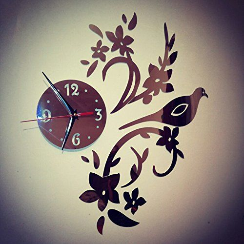 acrylic flower bird mirror clock sticker , diy wall clock quartz